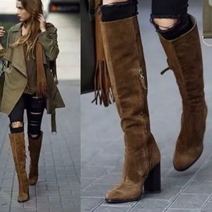 Zara Shoes - Zara Genuine Leather Suede Knee High Heel Boots
